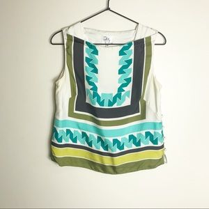 MILLY OF NEW YORK- Printed Sleeveless Silk Top